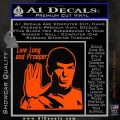 Spock Decal Sticker LLAP Decal Sticker Orange Vinyl Emblem 120x120