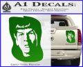 Star Trek Spock DS6 Decal Sticker Green Vinyl 120x97