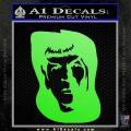 Star Trek Spock DS6 Decal Sticker Lime Green Vinyl 120x120