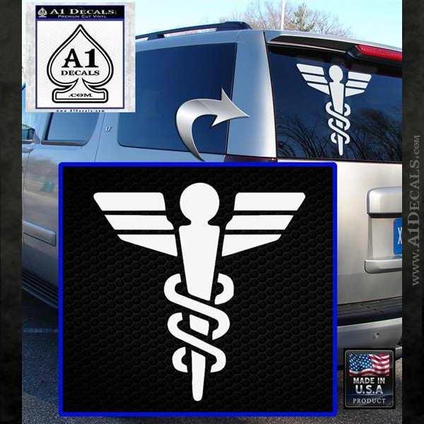Starfleet Medical Caduceus Symbol Decal Sticker White Emblem