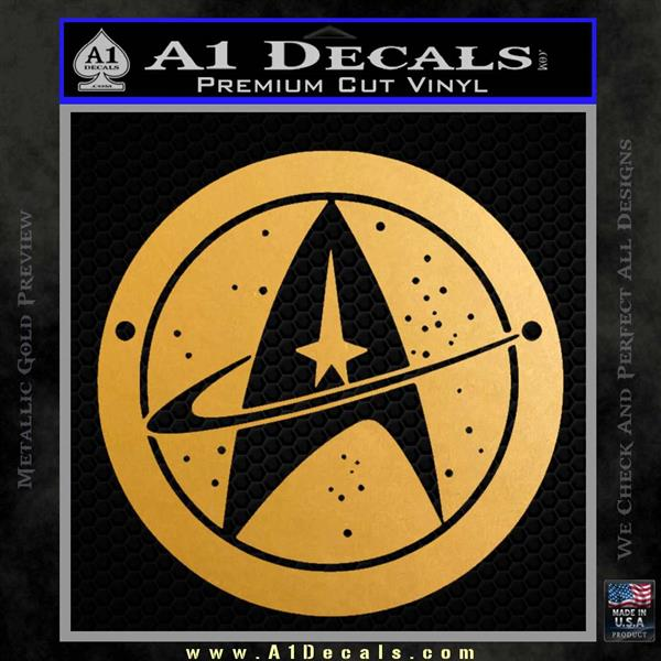 Starfleet Star Trek Emblem Decal Sticker Metallic Gold Vinyl Vinyl