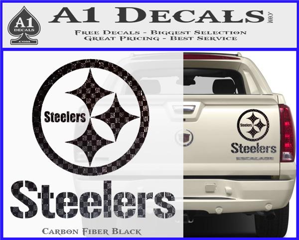 Steelers full decal sticker carbon fiber black 120x97