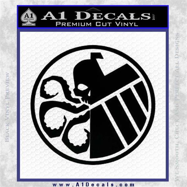 Superhero Mashup Hydra Shield Decal Sticker Black Logo Emblem