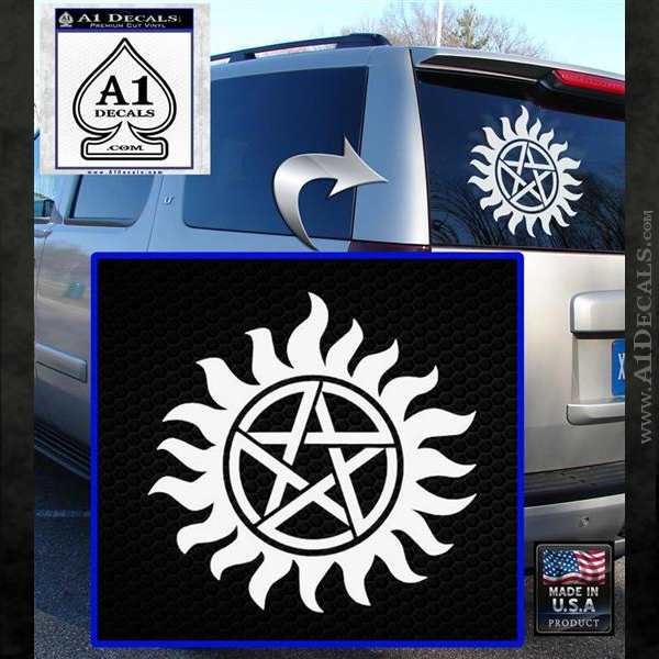 Supernatural Star Tattoo Decal Sticker DZA White Emblem