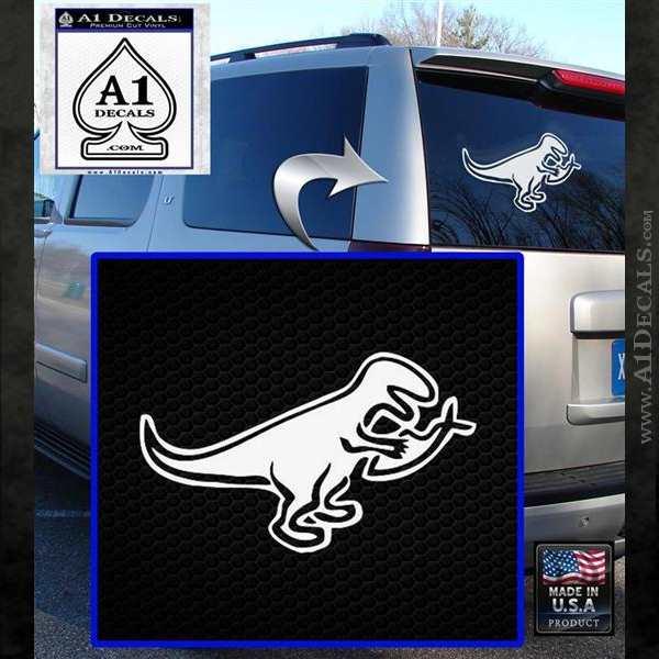 T Rex Your Jesus Fish Was Delicious Dinosaur Vinyl Decal Sticker White Emblem