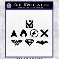 THE JUSTICE LEAGUE LOGO SET VINYL DECAL STICKER Black Logo Emblem 120x120