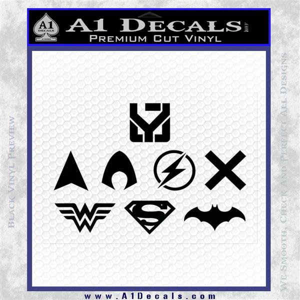 THE JUSTICE LEAGUE LOGO SET VINYL DECAL STICKER Black Logo Emblem