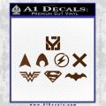 THE JUSTICE LEAGUE LOGO SET VINYL DECAL STICKER Brown Vinyl 120x120
