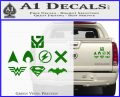 THE JUSTICE LEAGUE LOGO SET VINYL DECAL STICKER Green Vinyl 120x97