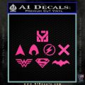 THE JUSTICE LEAGUE LOGO SET VINYL DECAL STICKER Hot Pink Vinyl 120x120