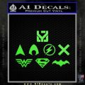 THE JUSTICE LEAGUE LOGO SET VINYL DECAL STICKER Lime Green Vinyl 120x120
