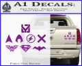 THE JUSTICE LEAGUE LOGO SET VINYL DECAL STICKER Purple Vinyl 120x97