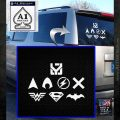 THE JUSTICE LEAGUE LOGO SET VINYL DECAL STICKER White Emblem 120x120
