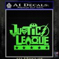 THE JUSTICE LEAGUE TEXT LOGO VINYL DECAL STICKER Lime Green Vinyl 120x120