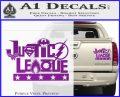 THE JUSTICE LEAGUE TEXT LOGO VINYL DECAL STICKER Purple Vinyl 120x97