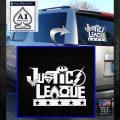 THE JUSTICE LEAGUE TEXT LOGO VINYL DECAL STICKER White Emblem 120x120