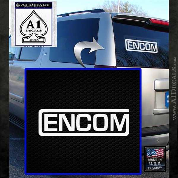 TRON ENCOM Logo Original Decal Sticker White Emblem