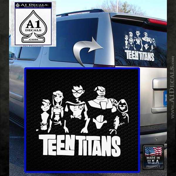Teen titans logo decal sticker white emblem