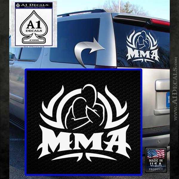 Ufc mma rear naked choke decal sticker white emblem