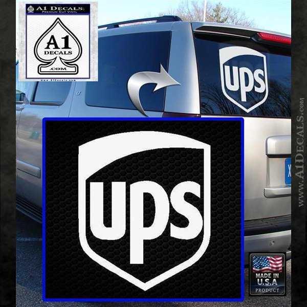 UPS Decal Sticker SH White Emblem