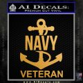 US Navy Veteran Decal Sticker Metallic Gold Vinyl 120x120