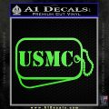 USMC Marine Dog Tags Decal Sticker Lime Green Vinyl 120x120