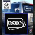 USMC Marine Dog Tags Decal Sticker White Emblem 120x120
