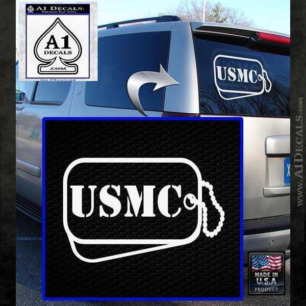 USMC Marine Dog Tags Decal Sticker White Emblem