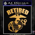 USMC Retired Decal Sticker Metallic Gold Vinyl 120x120