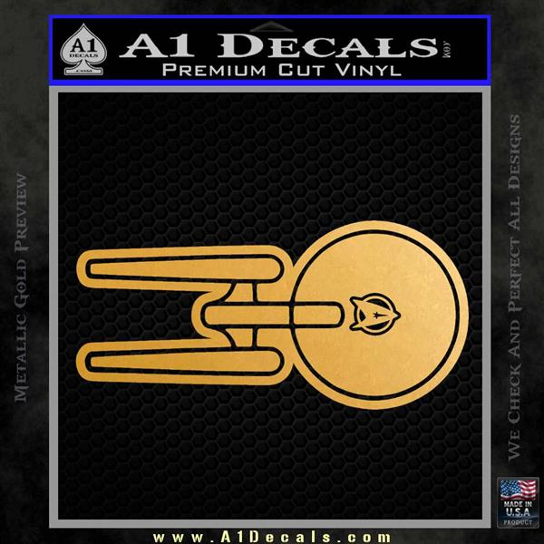 USS Enterprise T1 Decal Sticker Metallic Gold Vinyl Vinyl