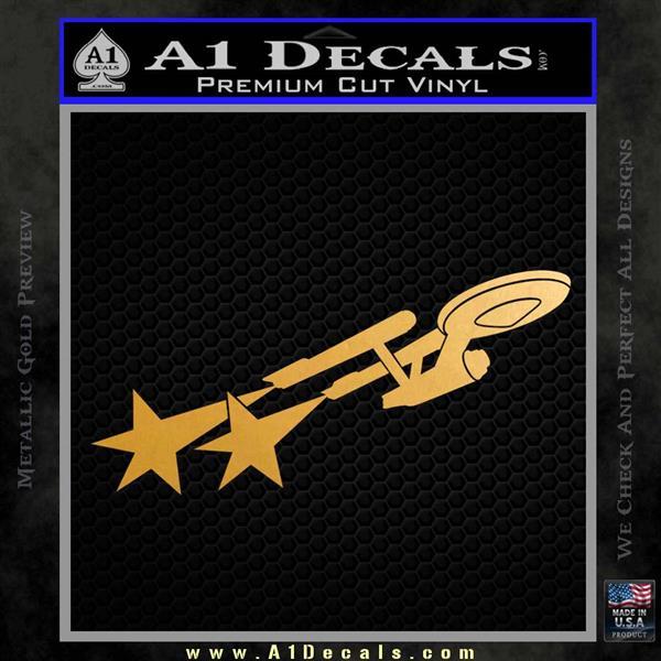 USS Enterprise Warp Burst Decal Sticker Metallic Gold Vinyl Vinyl