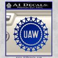 United Auto Workers UAW Decal Sticker Blue Vinyl 120x120