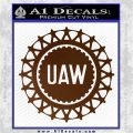 United Auto Workers UAW Decal Sticker Brown Vinyl 120x120