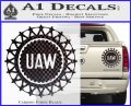 United Auto Workers UAW Decal Sticker Carbon Fiber Black 120x97