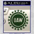 United Auto Workers UAW Decal Sticker Dark Green Vinyl 120x120