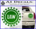United Auto Workers UAW Decal Sticker Green Vinyl 120x97