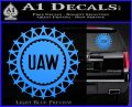 United Auto Workers UAW Decal Sticker Light Blue Vinyl 120x97
