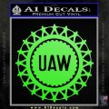 United Auto Workers UAW Decal Sticker Lime Green Vinyl 120x120
