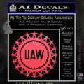 United Auto Workers UAW Decal Sticker Pink Vinyl Emblem 120x120