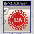 United Auto Workers UAW Decal Sticker Red Vinyl 120x120