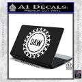 United Auto Workers UAW Decal Sticker White Vinyl Laptop 120x120
