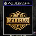 United States Marines Motorcycle Shield Decal Sticker Metallic Gold Vinyl Vinyl 120x120