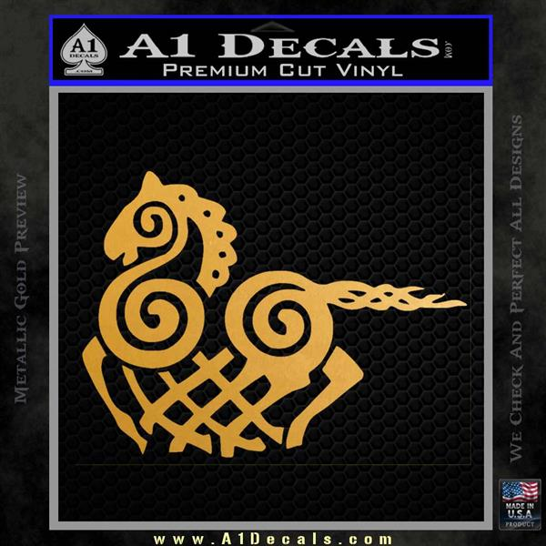 VIKING ODIN SLEIPNIR MEDIEVAL VINYL DECAL STICKER Metallic Gold Vinyl Vinyl