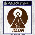 Vulcan Logo Spock TXT Decal Sticker Brown Vinyl 120x120