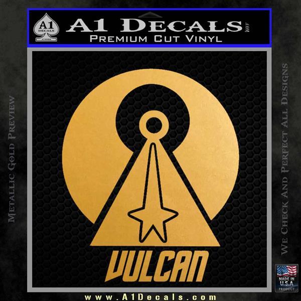Vulcan Logo Spock TXT Decal Sticker Metallic Gold Vinyl Vinyl