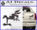 Wiley Coyote Pointing Decal Sticker Carbon Fiber Black 120x97