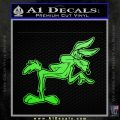 Wiley Coyote Pointing Decal Sticker Lime Green Vinyl 120x120