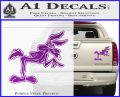 Wiley Coyote Pointing Decal Sticker Purple Vinyl 120x97