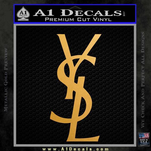 Yves Saint Laurent Logo Decal Sticker Metallic Gold Vinyl Vinyl
