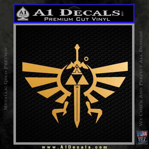 Zelda triforce master sword dm decal sticker metallic gold vinyl vinyl